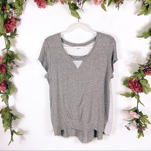 Anthro Bordeaux | gray cotton inlay tee blouse
